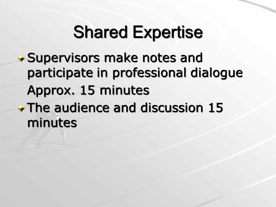 Presentation 15 minutes Feedback by peer supervisor 15 minutes Feedback by supervisors 15 minutes The audience and discussion 15 minutes