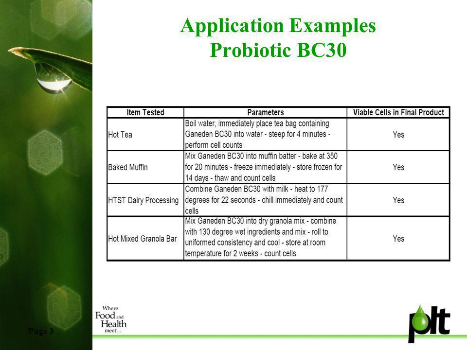 Page 3 Application Examples Probiotic BC30