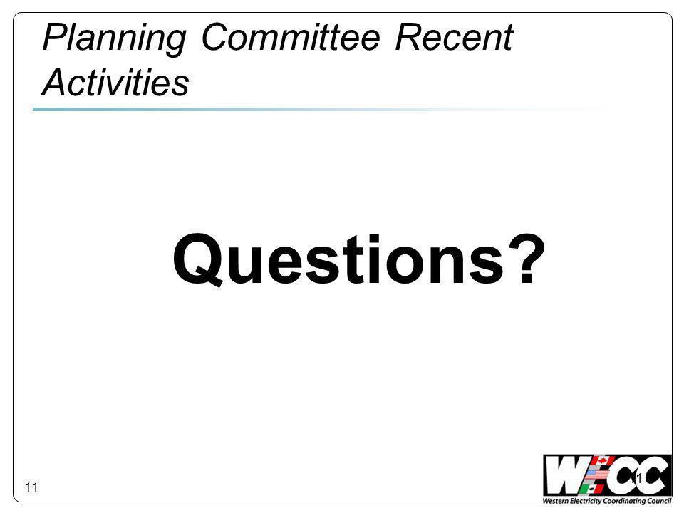 11 Planning Committee Recent Activities Questions? 11