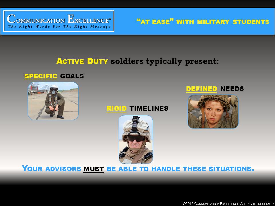 AT EASE WITH MILITARY STUDENTS ©2012 C OMMUNICATION E XCELLENCE.