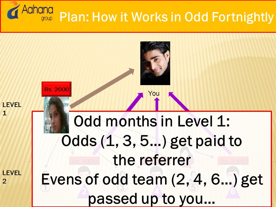 Plan: How it Works at Level 1 You 1 Rs. 2000 246 35 LEVEL 1 LEVEL 2 Level 1: Odds (1, 3, 5…) get paid to the referrer Evens (2, 4, 6…) get passed up t