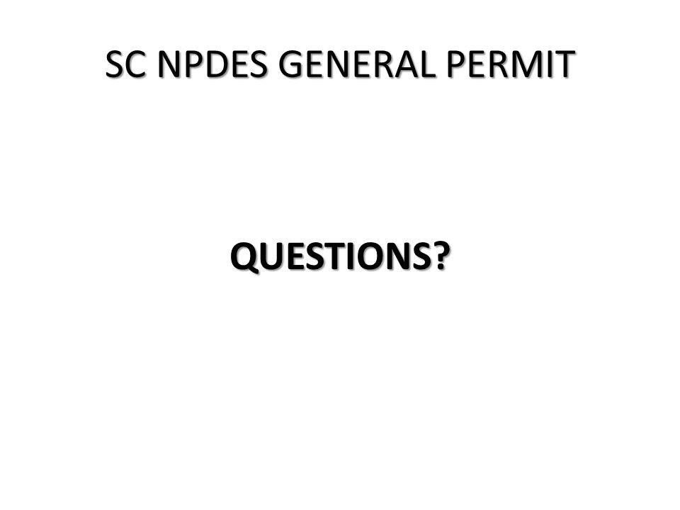 SC NPDES GENERAL PERMIT QUESTIONS