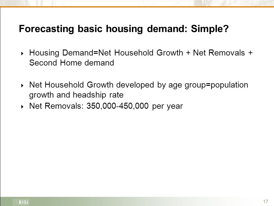 17 Forecasting basic housing demand: Simple.