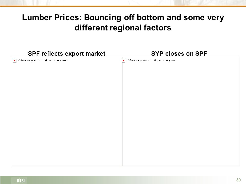 30 Lumber Prices: Bouncing off bottom and some very different regional factors SPF reflects export marketSYP closes on SPF