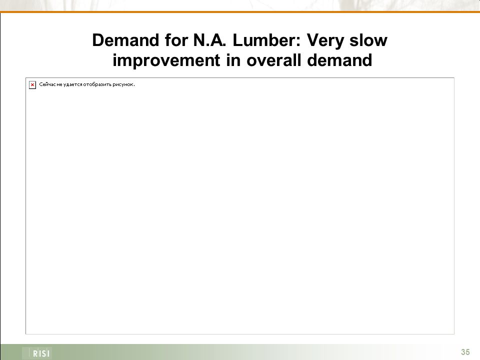 35 Demand for N.A. Lumber: Very slow improvement in overall demand