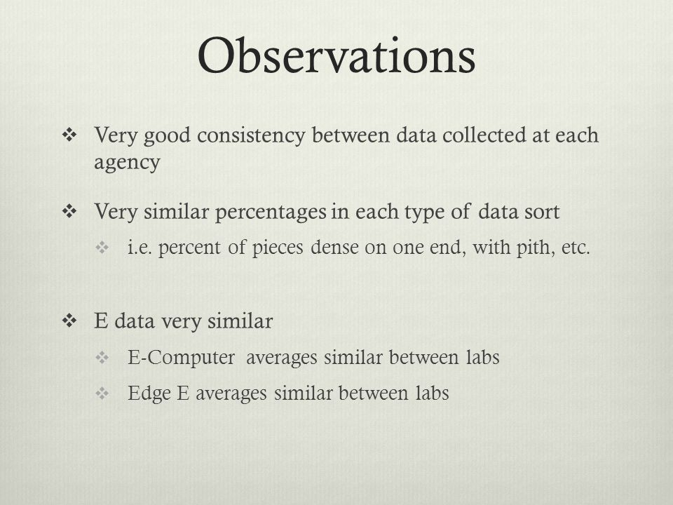 Observations  Very good consistency between data collected at each agency  Very similar percentages in each type of data sort  i.e.