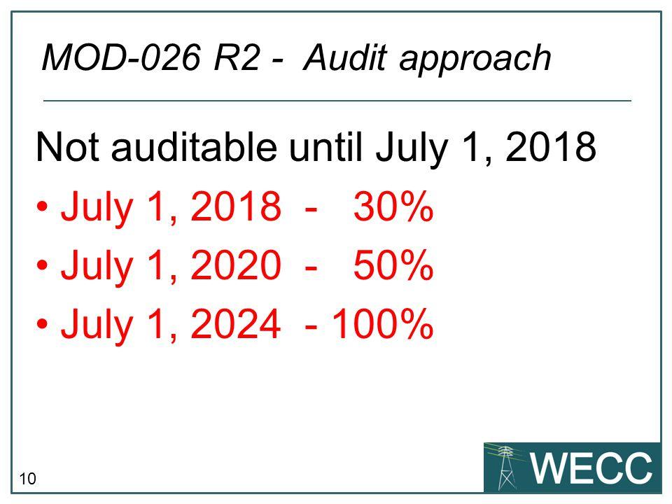 10 Not auditable until July 1, 2018 July 1, 2018 - 30% July 1, 2020 - 50% July 1, 2024 - 100% MOD-026 R2 - Audit approach
