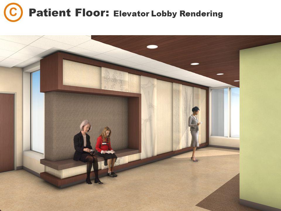 Patient Floor: Elevator Lobby Rendering C