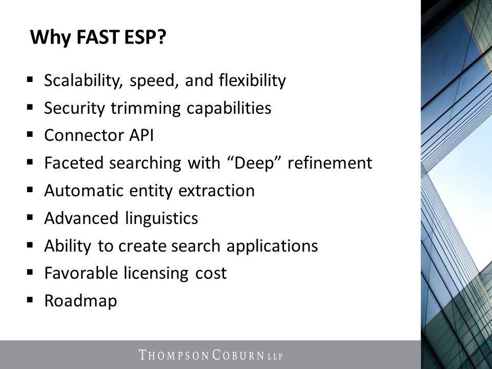 """Why FAST ESP?  Scalability, speed, and flexibility  Security trimming capabilities  Connector API  Faceted searching with """"Deep"""" refinement  Auto"""