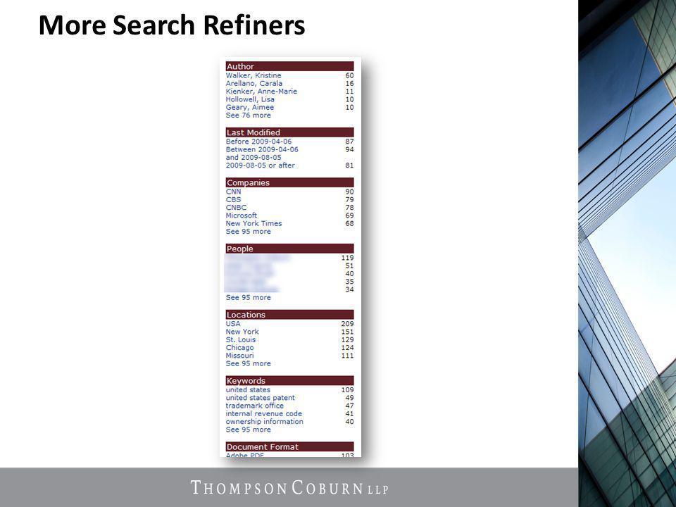 More Search Refiners