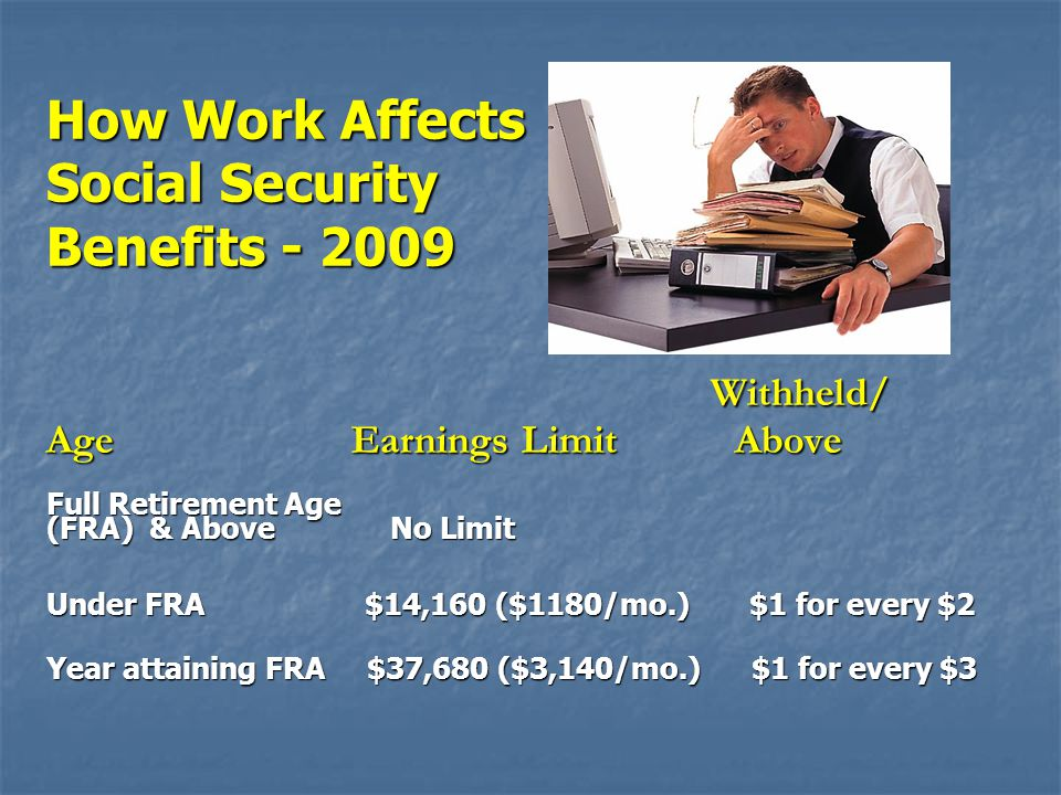 Withheld/ Withheld/ Age Earnings Limit Above Full Retirement Age (FRA) & Above No Limit Under FRA $14,160 ($1180/mo.) $1 for every $2 Year attaining F