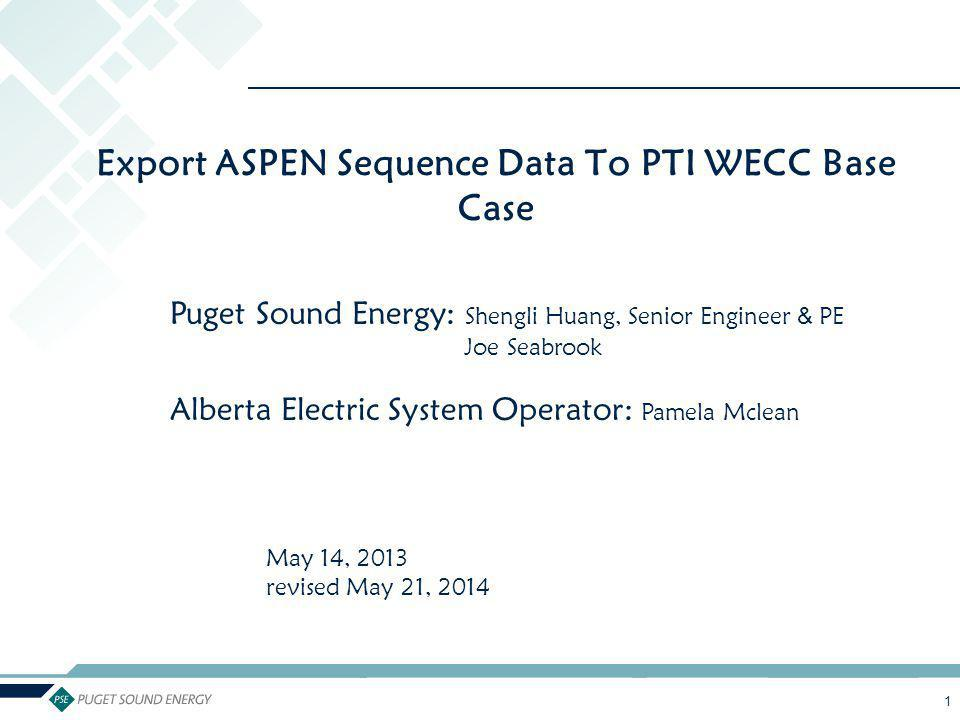 2 The Covered Topics 1.Background Recommendation (Pamela Mclean) 2.Steps to Export ASPEN Sequence Data to PTI WECC Base Case (Shengli Huang) (Assumes you have not arrived to the Alberta gold standard of matching bus numbers.) 3.Questions Needing to Be Discussed