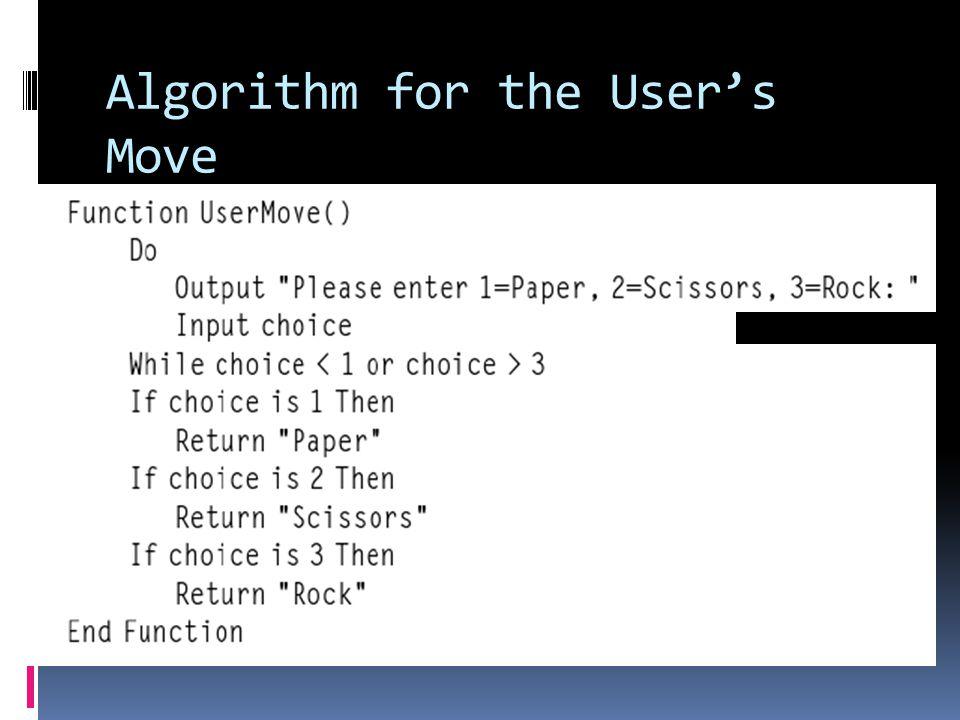 Algorithm for the User's Move