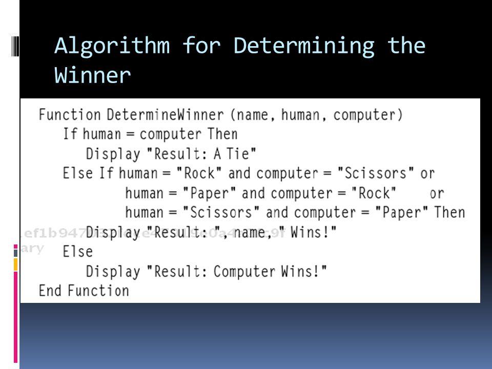 Algorithm for Determining the Winner
