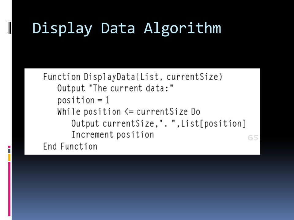 Display Data Algorithm