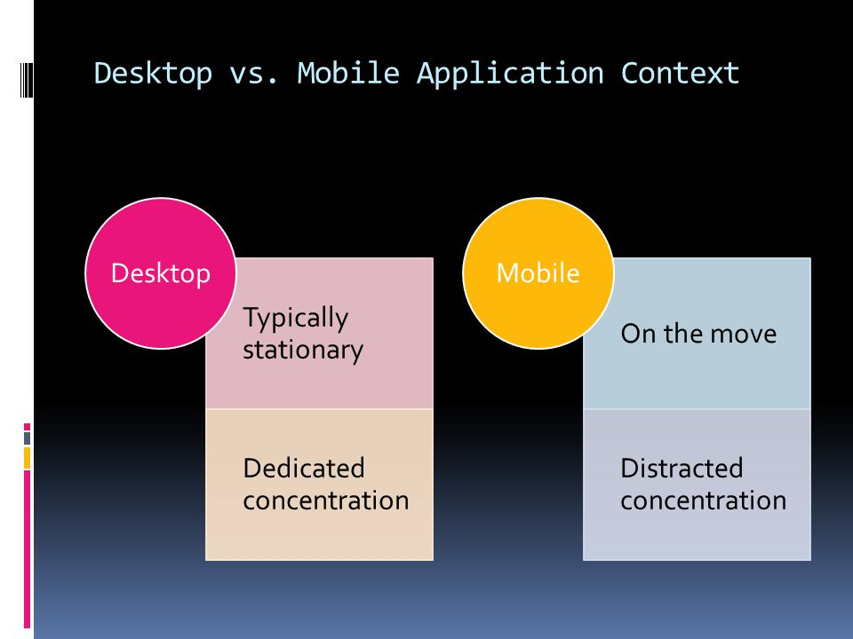 Desktop vs. Mobile Application Context Typically stationary Dedicated concentration Desktop On the move Distracted concentration Mobile