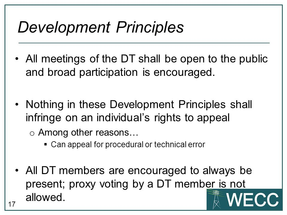 17 All meetings of the DT shall be open to the public and broad participation is encouraged.