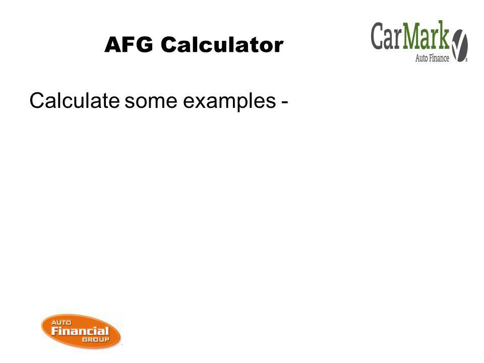 AFG Calculator Calculate some examples -