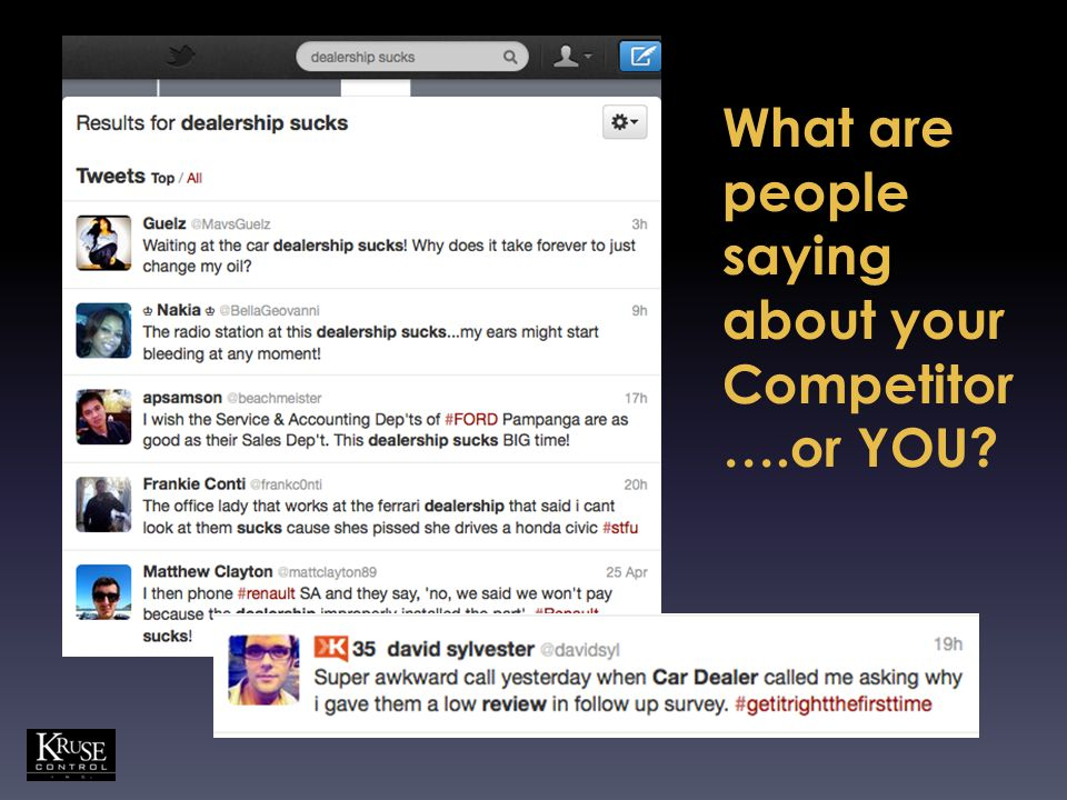 What are people saying about your Competitor ….or YOU