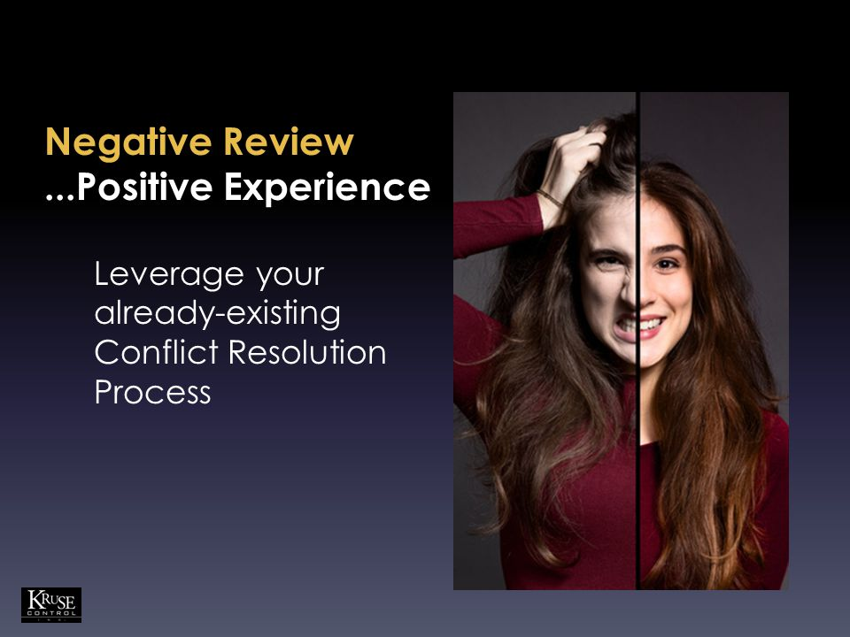 Negative Review...Positive Experience Leverage your already-existing Conflict Resolution Process