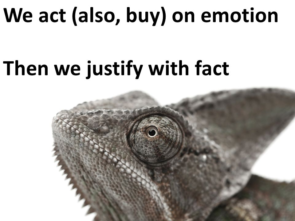 We act (also, buy) on emotion Then we justify with fact