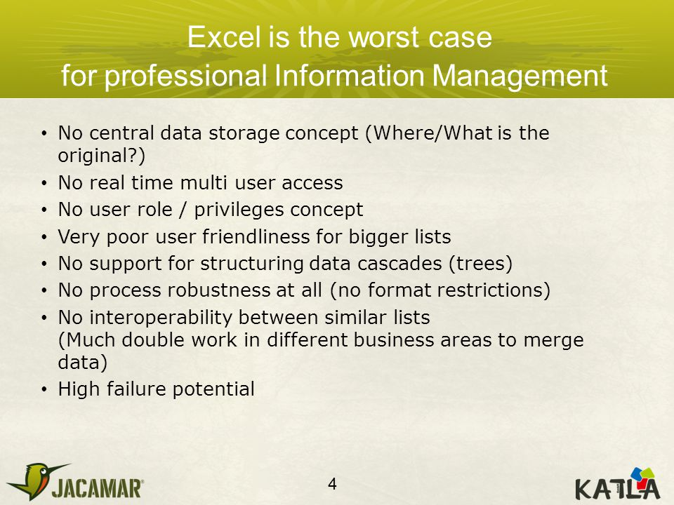 Excel is the worst case for professional Information Management No central data storage concept (Where/What is the original ) No real time multi user access No user role / privileges concept Very poor user friendliness for bigger lists No support for structuring data cascades (trees) No process robustness at all (no format restrictions) No interoperability between similar lists (Much double work in different business areas to merge data) High failure potential 4
