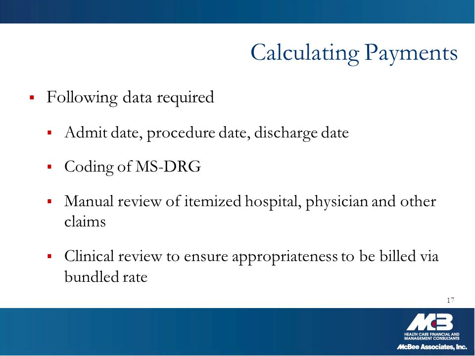 Calculating Payments  Following data required  Admit date, procedure date, discharge date  Coding of MS-DRG  Manual review of itemized hospital, p