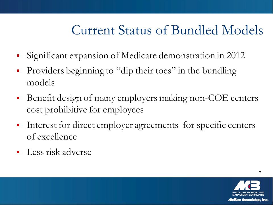 """Current Status of Bundled Models  Significant expansion of Medicare demonstration in 2012  Providers beginning to """"dip their toes"""" in the bundling m"""