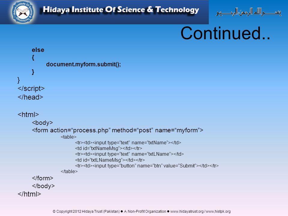 © Copyright 2012 Hidaya Trust (Pakistan) ● A Non-Profit Organization ● www.hidayatrust.org / www,histpk.org Continued..