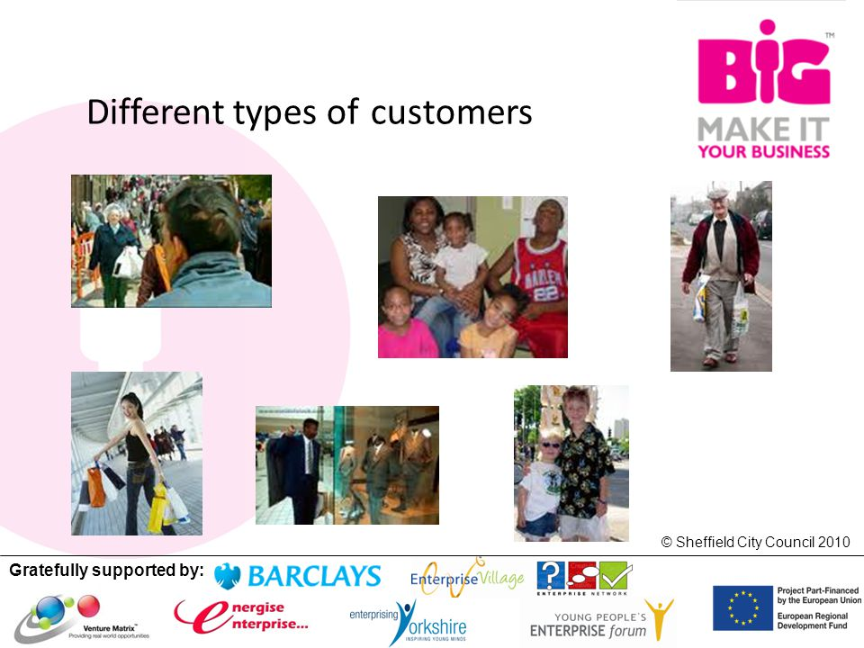 Gratefully supported by: © Sheffield City Council 2010 Different types of customers