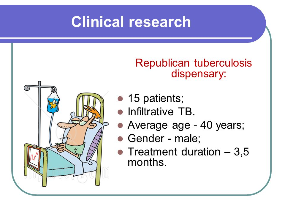 Clinical research Republican tuberculosis dispensary: 15 patients; Infiltrative TB.