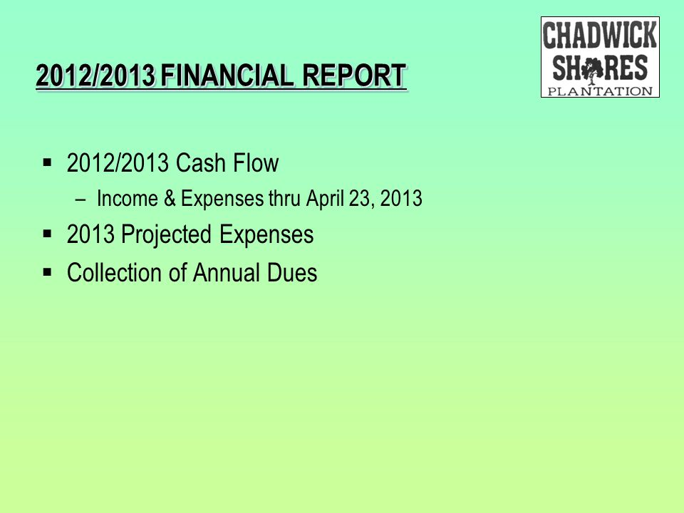 2012/2013 FINANCIAL REPORT  2012/2013 Cash Flow –Income & Expenses thru April 23, 2013  2013 Projected Expenses  Collection of Annual Dues