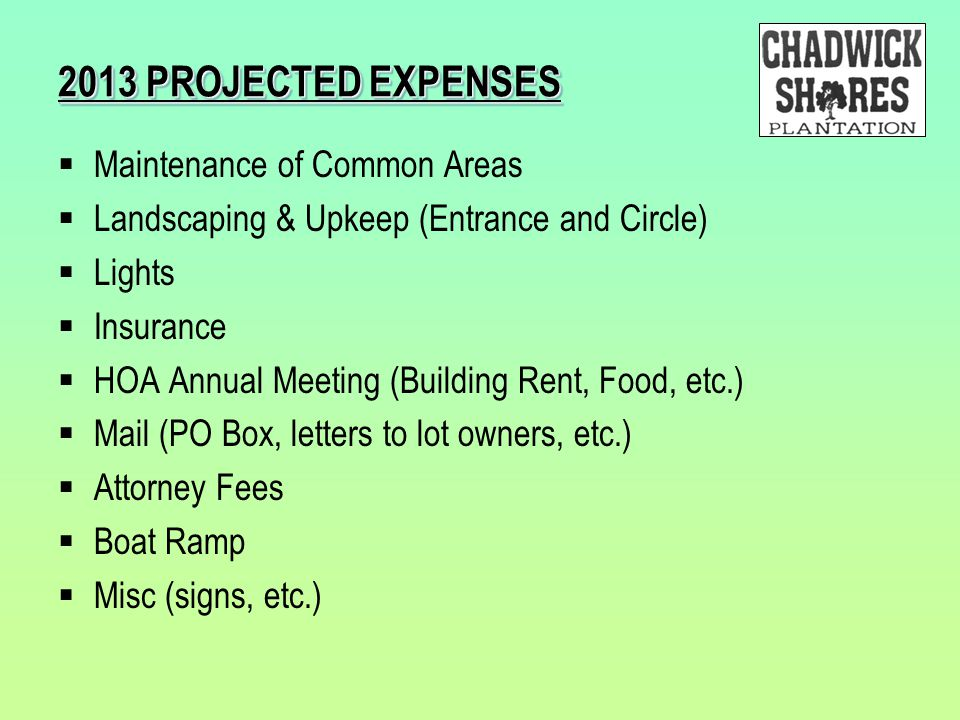 2013 PROJECTED EXPENSES  Maintenance of Common Areas  Landscaping & Upkeep (Entrance and Circle)  Lights  Insurance  HOA Annual Meeting (Building