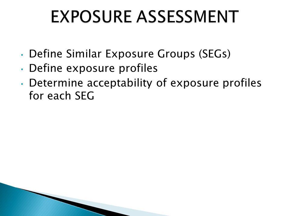 Define Similar Exposure Groups (SEGs) Define exposure profiles Determine acceptability of exposure profiles for each SEG