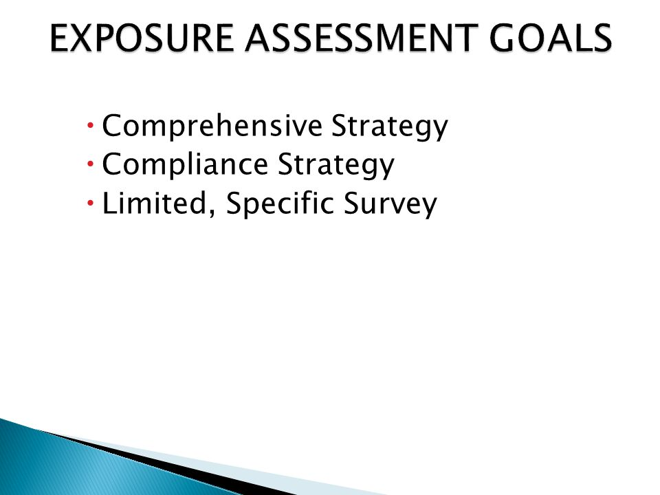  Comprehensive Strategy  Compliance Strategy  Limited, Specific Survey
