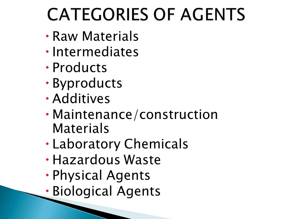  Raw Materials  Intermediates  Products  Byproducts  Additives  Maintenance/construction Materials  Laboratory Chemicals  Hazardous Waste  Physical Agents  Biological Agents