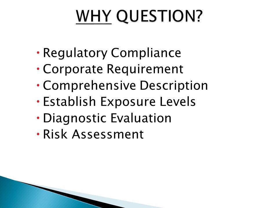  Regulatory Compliance  Corporate Requirement  Comprehensive Description  Establish Exposure Levels  Diagnostic Evaluation  Risk Assessment