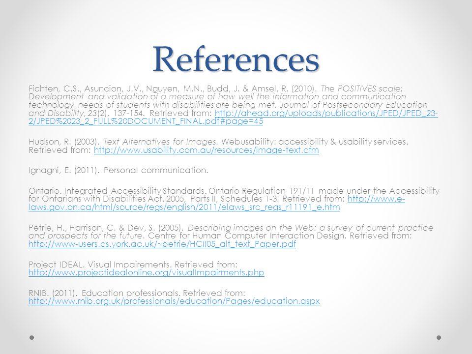 References Fichten, C.S., Asuncion, J.V., Nguyen, M.N., Budd, J.