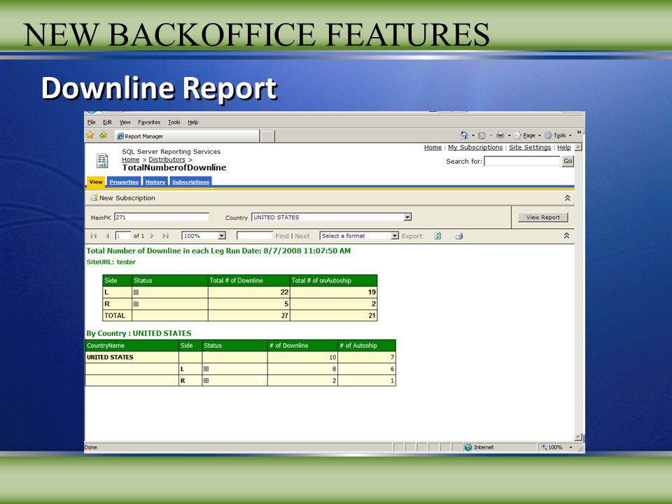 NEW BACKOFFICE FEATURES Downline Report