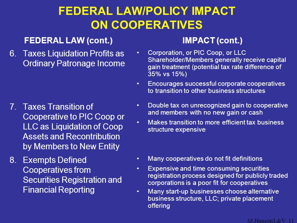 M.Hanson L&V11 FEDERAL LAW/POLICY IMPACT ON COOPERATIVES FEDERAL LAW (cont.) 6.Taxes Liquidation Profits as Ordinary Patronage Income 7.Taxes Transiti