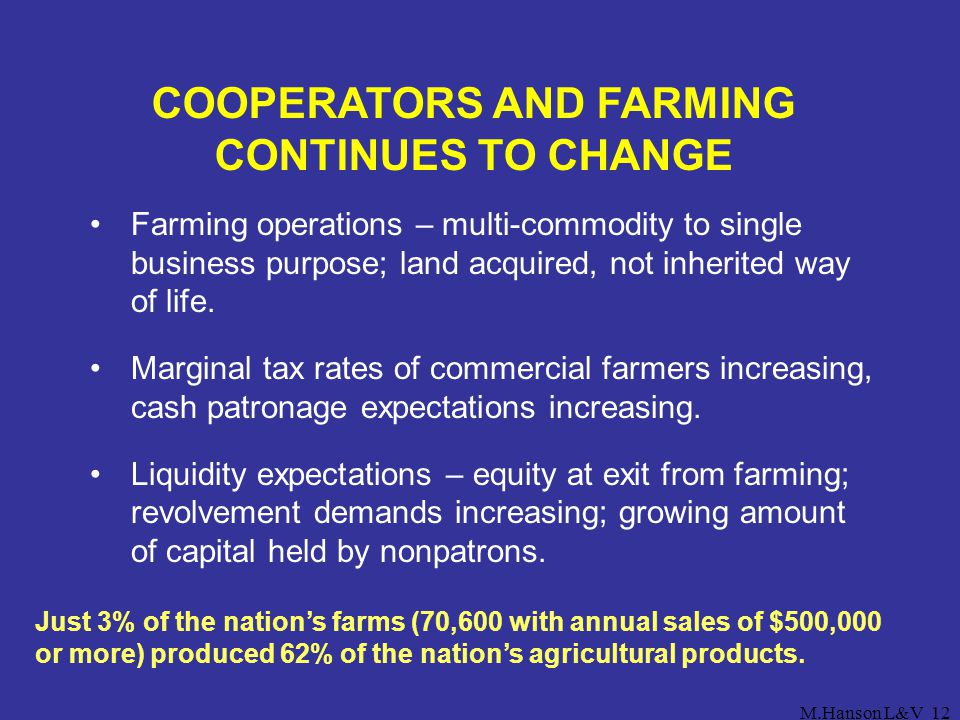 M.Hanson L&V12 COOPERATORS AND FARMING CONTINUES TO CHANGE Farming operations – multi-commodity to single business purpose; land acquired, not inherit