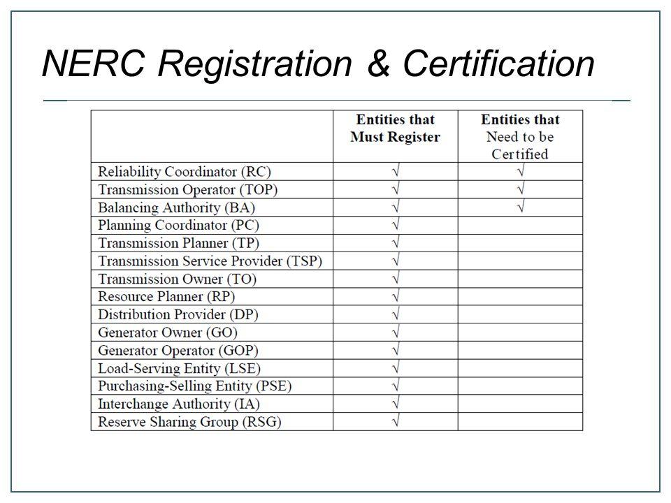 NERC Registration & Certification
