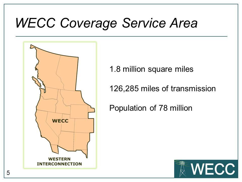 5 WECC Coverage Service Area 1.8 million square miles 126,285 miles of transmission Population of 78 million