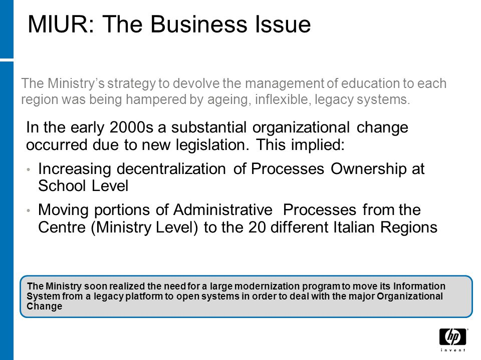 MIUR: The Business Issue In the early 2000s a substantial organizational change occurred due to new legislation.