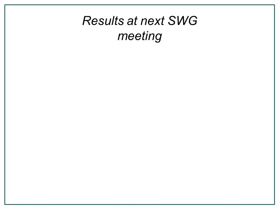Results at next SWG meeting