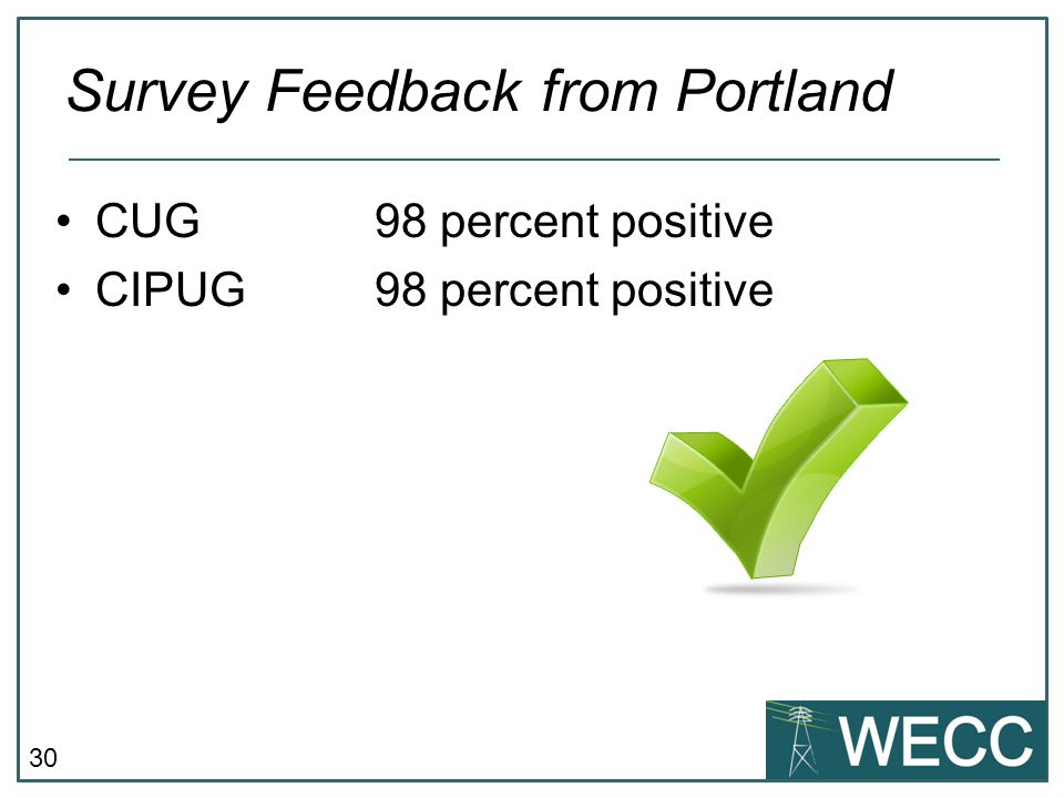 30 CUG 98 percent positive CIPUG98 percent positive Survey Feedback from Portland