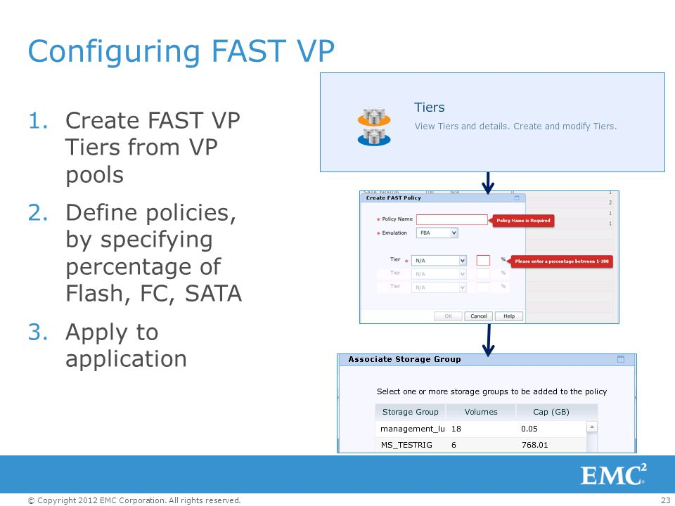 23© Copyright 2012 EMC Corporation. All rights reserved. Configuring FAST VP 1.Create FAST VP Tiers from VP pools 2.Define policies, by specifying per