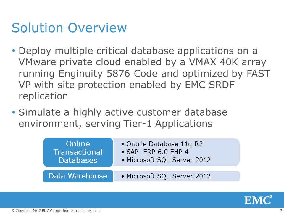 7© Copyright 2012 EMC Corporation. All rights reserved. Solution Overview  Deploy multiple critical database applications on a VMware private cloud e