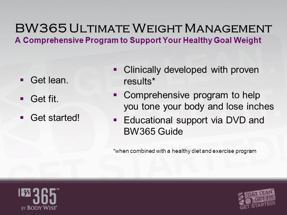 BW365 Ultimate Weight Management A Comprehensive Program to Support Your Healthy Goal Weight  Get lean.
