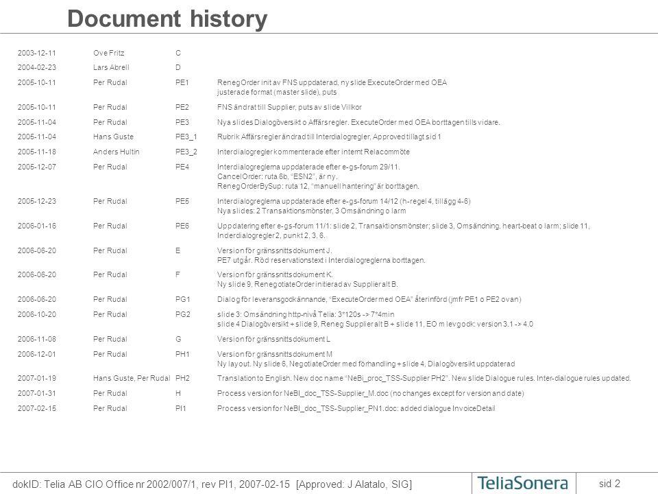 dokID: Telia AB CIO Office nr 2002/007/1, rev PI1, 2007-02-15 [Approved: J Alatalo, SIG] sid 3 Transaction pattern Responder 2.